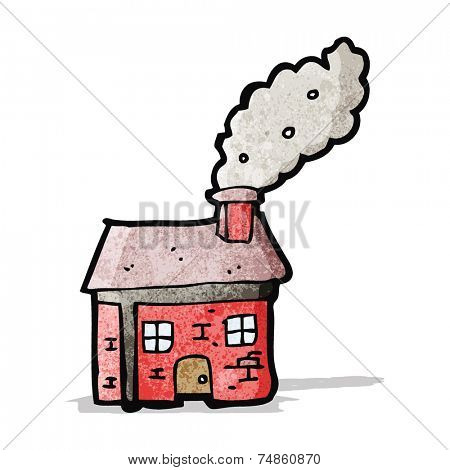 cartoon cottage with smoking chimney