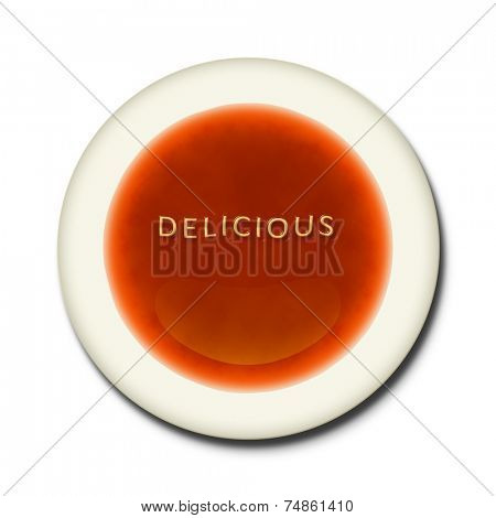 An alphabet soup with the words delicious