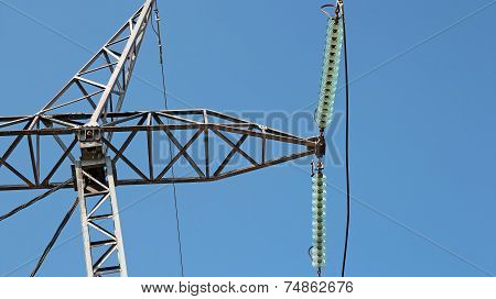 High Voltage Electricity Distribution Pylon Insulator And Power Line Detail