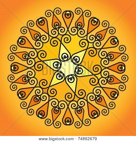 Pattern In Yellow And Orange Shades Of Abstract Decorative Curls Arranged In A Circle.