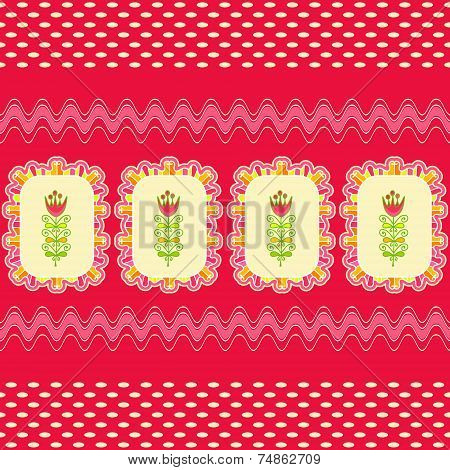 Bright Seamless Pattern From Decorative Elements And Flowers.