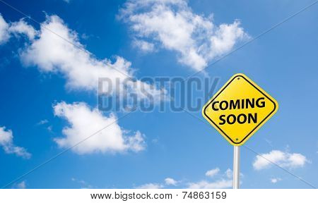 Coming Soon Sign On Blue Sky