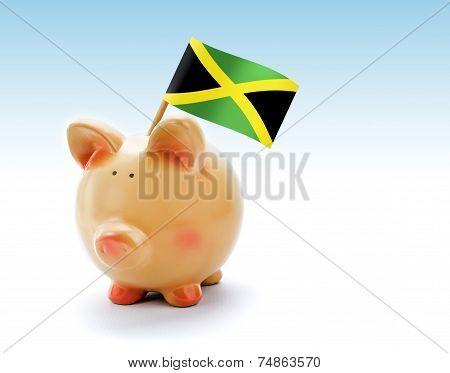 Piggy Bank With National Flag Of Jamaica