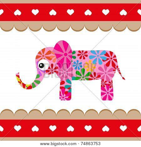 Cartoon Vector Pink Elephant.