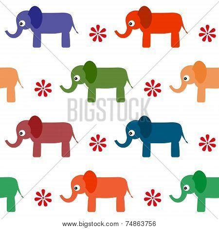 Seamless Background Of Cartoon Vector Elephants.