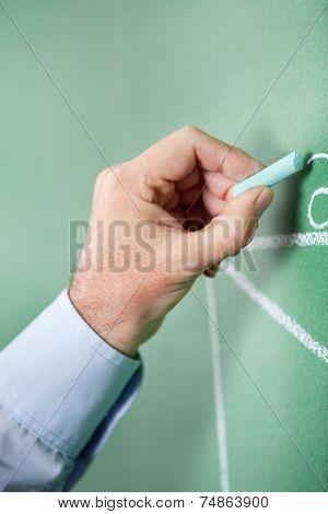 Closeup of male professor writing on greenboard in classroom