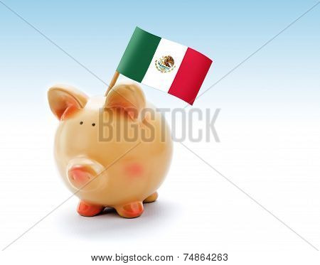 Piggy Bank With National Flag Of Mexico