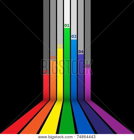 Abstract Design Element With Colorful Lines On Black Background