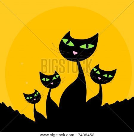 Cat family - black silhouette on orange background