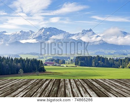 Mountain Allgau With Wooden Floor