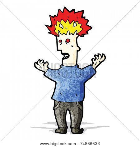 cartoon man with exploding head