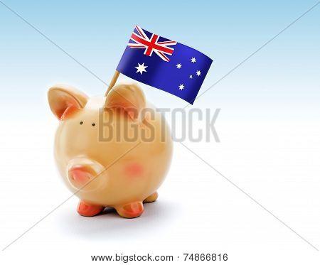 Piggy Bank With National Flag Of Australia