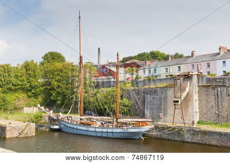 Tall ship Charlestown harbour near St Austell Cornwall England UK in late summer