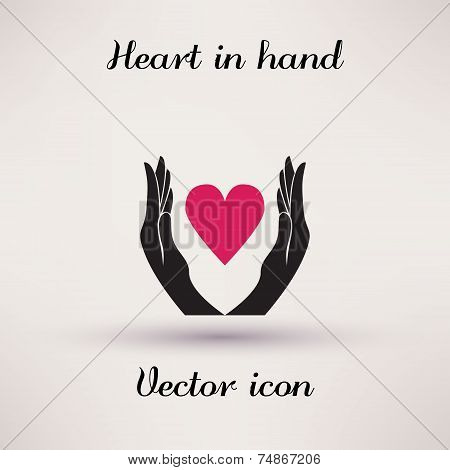 Pictograph of heart in hands Vector icon Template for design.
