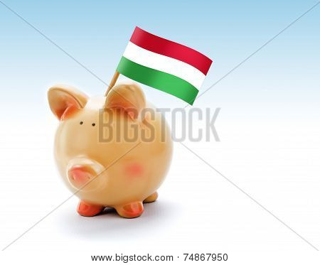 Piggy Bank With National Flag Of Hungary