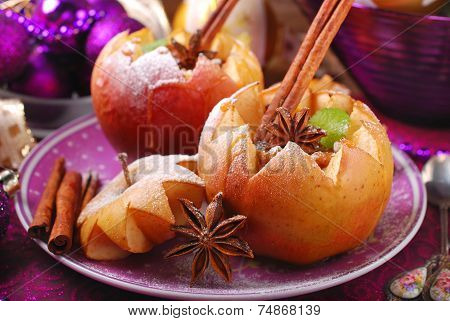 Baked Apples With Nuts And Raisins For Christmas