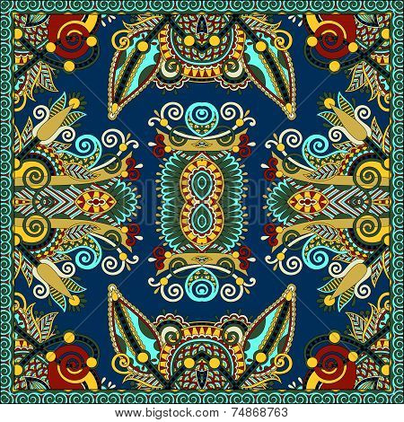 Traditional ornamental floral paisley bandanna. Square ornament