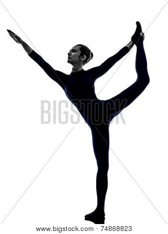 woman exercising Natarajasana dancer pose yoga silhouette shadow white background