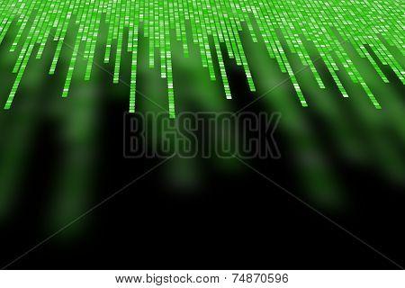 Matrix Made Of Green Square Polkadots On Black Background
