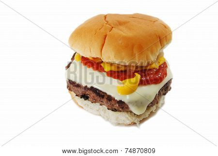 Delicious Beef Burger With Cheese And Condiments