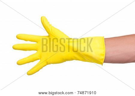 Male hand in yellow glove