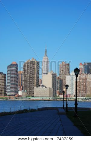 Skyline for Mid-town Manhattan in New York City in Spring time