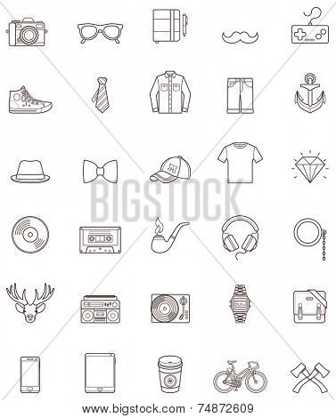 Set of the simple hipster icons
