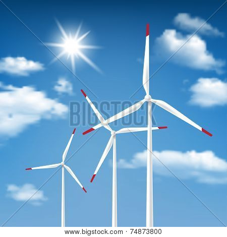 Wind Energy - Wind Turbines with Blue Sky Sunny Cloudscape background