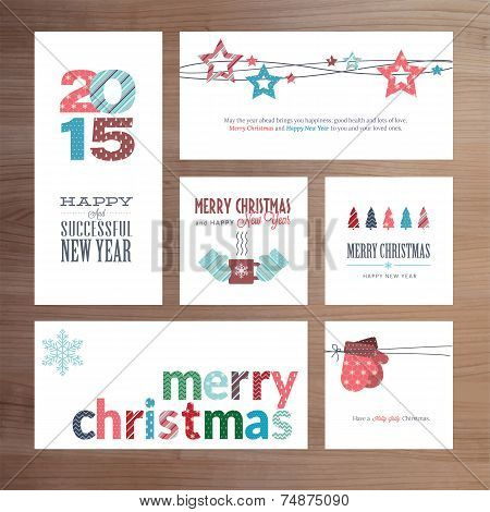 Flat design Christmas and New Year greeting card templates