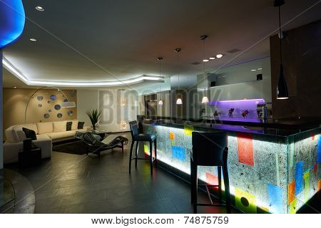 Interior design: Kitchen / Bar house and living room