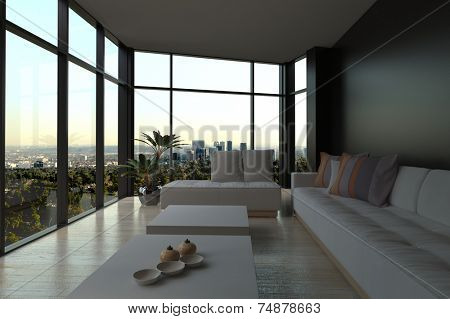 3d Rendering of White Couches and Tables in an Elegant Architectural Living Room with an Overlooking Outside View from Big Glass Windows.