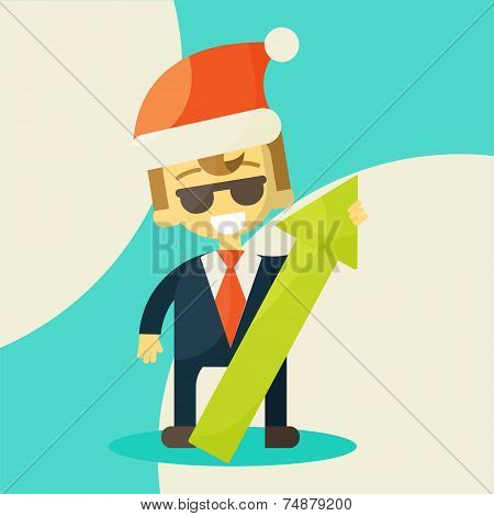 Happy businessman, success in work.
