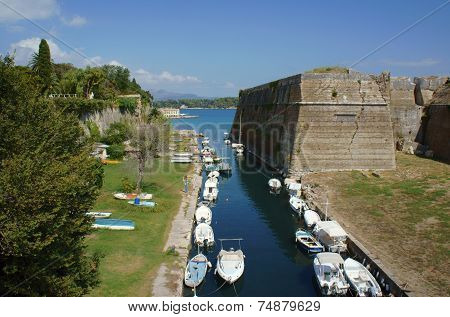 moat and Palaio Frourio in city of Corfu