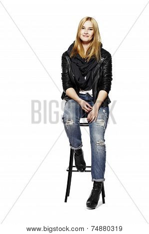 Rock Style Girl Sitting On Stool