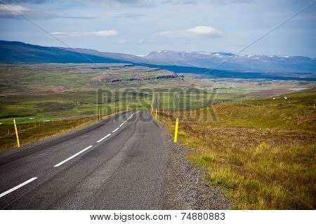 Highway Through Icelandic Landscape