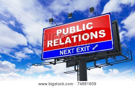 Public Relations Inscription on Red Billboard.
