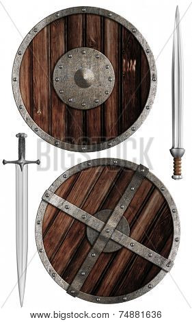 wooden vikings' shields and swords collection isolated on white