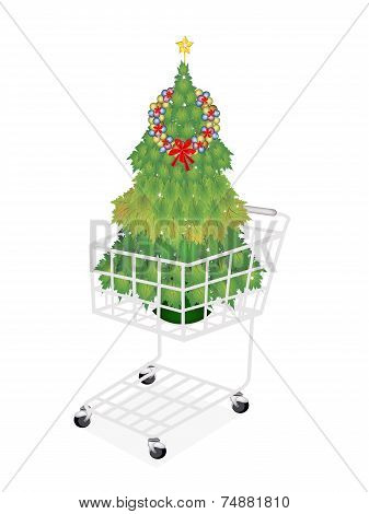 Christmas Tree of Maple Leaves in Shopping Cart