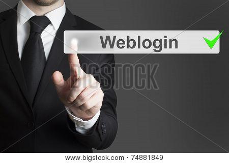 Businessman Pushing Flat Button Weblogin