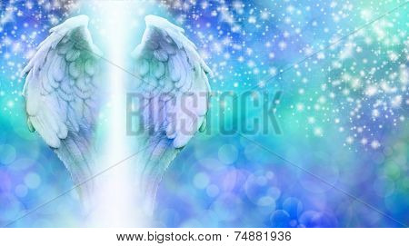 Blue Sparkling Healing Angel Bokeh Banner