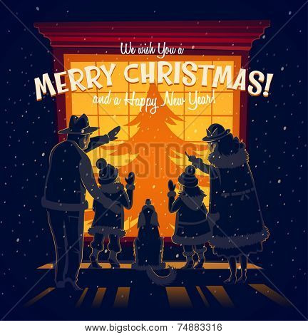 The family in front of the window. Christmas card \ poster \ banner. Vector illustration.