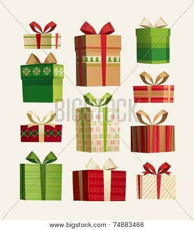 Gift set. Christmas card \ poster \ banner. Vector illustration.