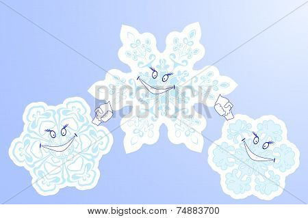 Three Winter  Snowflake Smile