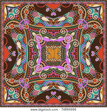 silk neck scarf or kerchief square pattern design in ukrainian k