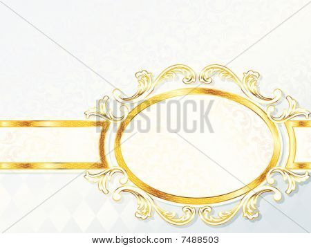 Beautiful horizontal rococo wedding banner