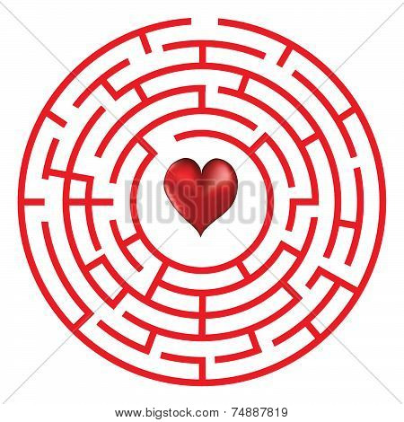 Love Concept Maze With Heart