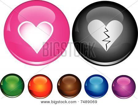 Vector iconos con signo de corazón