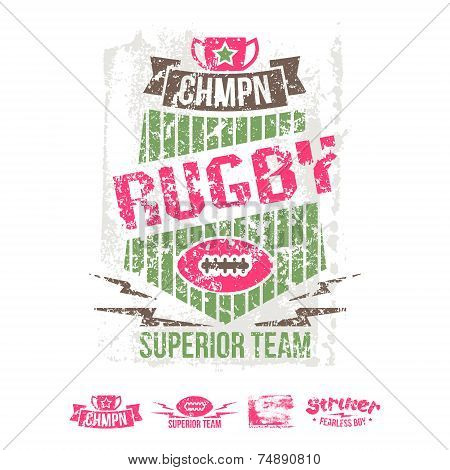 College Girl Team Rugby Retro Emblem And Design Elements