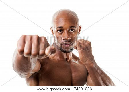 Muscular Man Punches