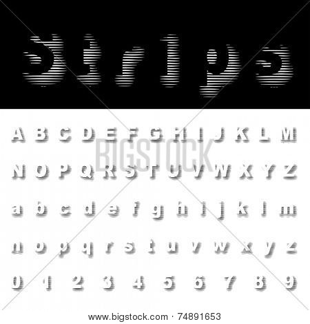 vector dimly stripped halftone alphabet